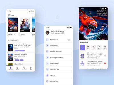 Cartelera Cine | Dark Mode rating film actor cinema movie app user interface design user experience userinterface branding app flat ui ux design minimal