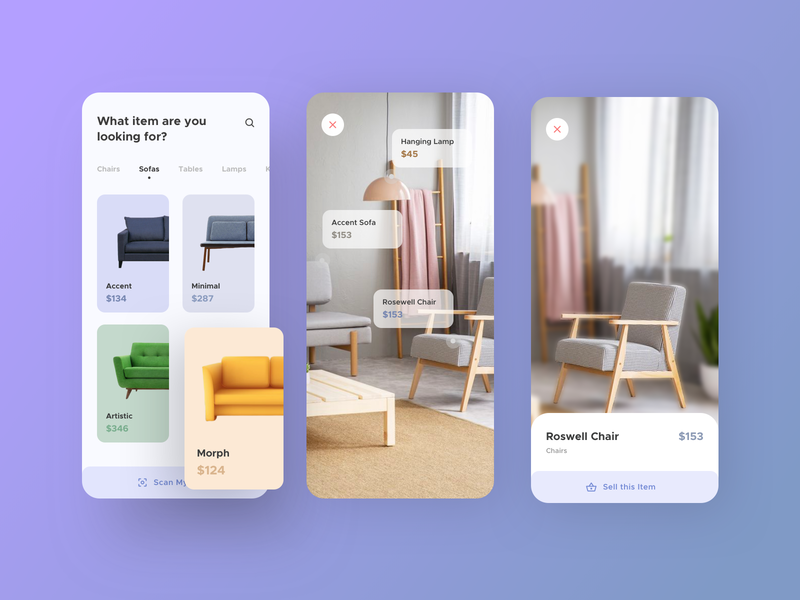 Furniture App UI II 2020 furniture app design furniture store e commerce sell buy app clean clean ui ikea ux flat ui augmentedreality furniture app user experience userinterface design minimal