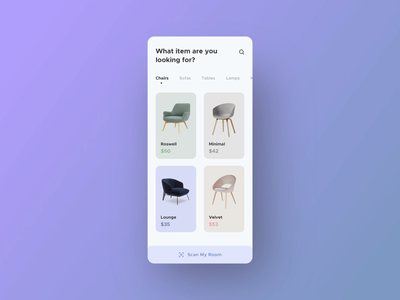 Furniture App Interaction II augmented reality 2020 trends user interface design furntiture sell buy e commerce user experience userinterface smooth animation smooth interactive interaction animation app flat ux ui design minimal