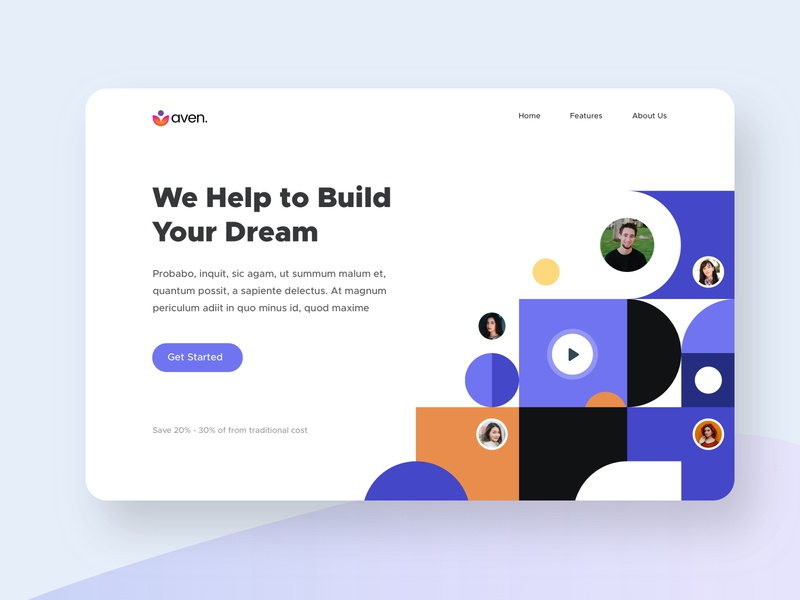 Aven - Landing Page ( Sketch Freebie ) user interface design userinterface dribbble best shot trend 2020 freebies freebie landing page illustration user experience web landing landing page design landingpage website concept webdesign website ux ui design minimal