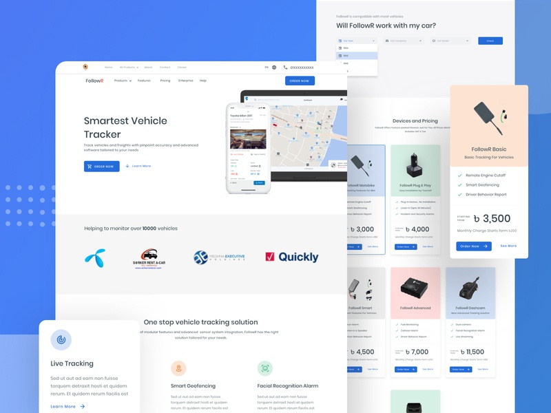 FollowR - Vehicle Tracking Solution web landing design product design user experience userinterface landing followr dingi bangladesh flat ux ui minimal redesign website design webdesign landing page landing page design landingpage