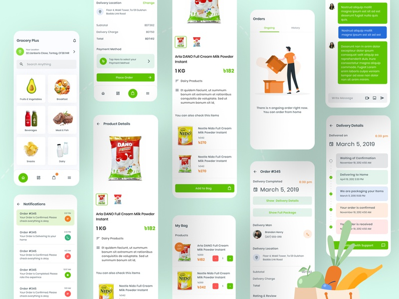 Grocery Plus - Grocery App UI user experience designer best dribbble shot 2020 best dribbble shot user interface mobile app design mobile ui user experience design user interface design userinterface user experience app flat design ux ui minimal grocery online groceries grocery store grocery app
