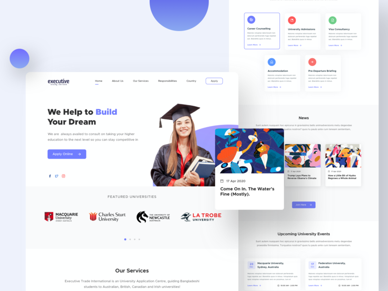 Executive Study Landing Page (Free Sketch File) 2020 trend trending best dribbble shot abroad higher education educational education website education webdesign website user interface design bangladesh user experience minimal design ux ui landing page design landingpage web