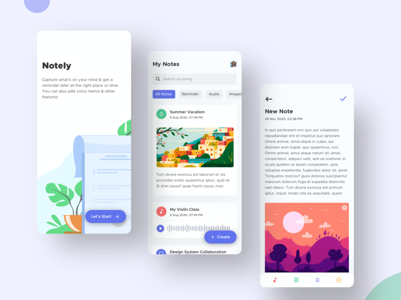 Notely - Note Taking App (Free Sketch File) note app uplabs concepts user interface product design app design notepad 2020 trend best dribbble shot illustration user interface design userinterface user experience app flat ux ui notes notes app minimal