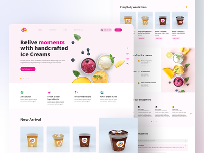 OMG Handcrafted Ice Cream Website UX Redesign order ice cream ecommerce live product product designer trend 2021 trend best dribbble shot web ux user interface website redesign handcrafted ice cream landing page redesign web redesign product design user experience design branding minimal ux ui