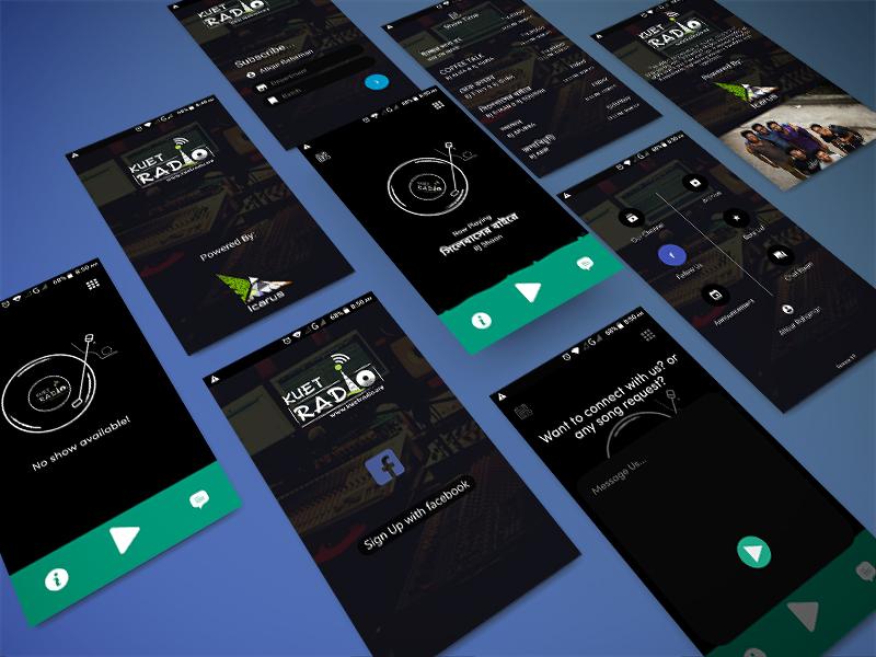 KUET Radio liquid eq icarus bangladesh app instant messaging player ux ui radio kuet