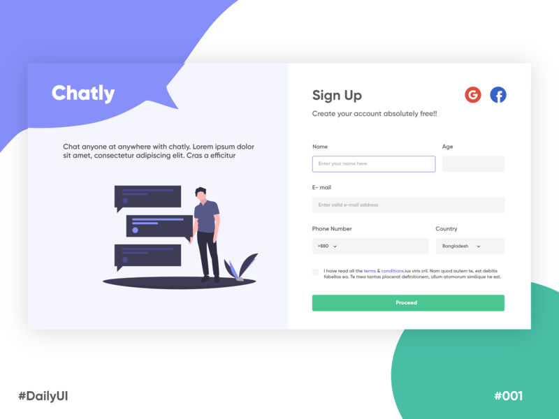 Rebound Shot for Sign Up - Daily UI #001 web bangladesh signup page signupform signup ux ui typography flat design minimal