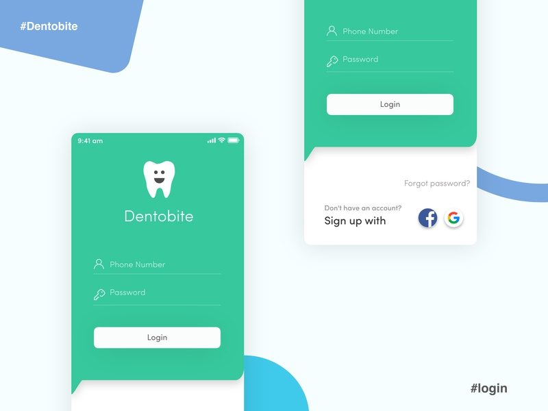 Dentobite - Your Online Dentist uidesign uxdesign login typography vector app bangladesh flat ux ui design minimal