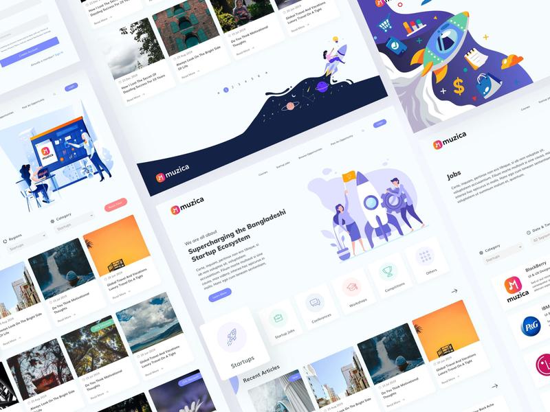 Upstarters - A Bangladeshi Startup Website identity web typography branding flat bangladesh ux ui design minimal