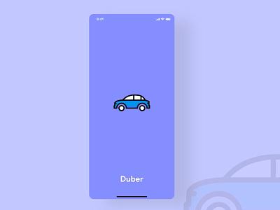 Duber - Ride Sharing Login ridesharing illustration app typography branding flat ux ui design minimal
