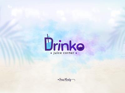 Drinko Juice Corner Typography Logo graphic design vector ui illustration lettering logo typography logo logo design branding design typography