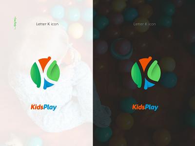 KidsPlay: Letter K icon & Typography Logo Design graphic design vector ui illustration lettering logo typography logo logo design branding design typography