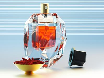 Saffron cinema4d xparticles illustration perfume glass bottle 3d rendering product design product rendering