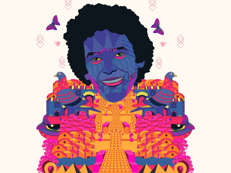 Mohamed Mounir king portrait illustration butterfly pharaoh pyramid portrait egypt mounir illustration