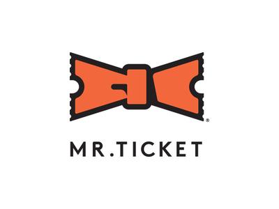 Mr. Ticket mr mister bowtie tie ticket branding icon mark logo