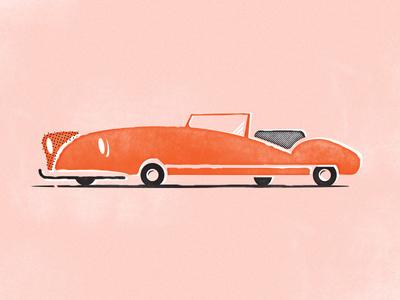 Top Down vintage auto zoom mid century illustration car