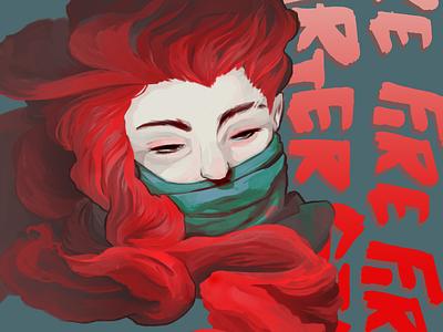 Firestarter red color saturated typography lettering photoshop illustration