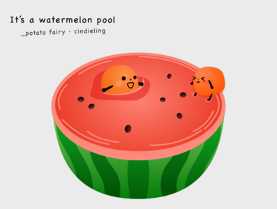 Watermelon pool fairytale potato;flat drawing