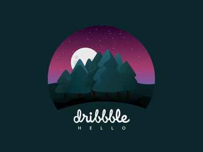 Hello dribbble first shot tree moon stars country green pink night gradient forest design illustrator