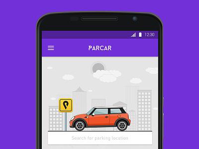 Parcar app concept mini mini cooper concept ui parking search car illustration app purple android