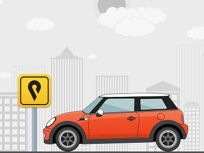 Parking car illustration parking board sign board sign flat illustration flat design tyres cloud building road parking mini copper illustration