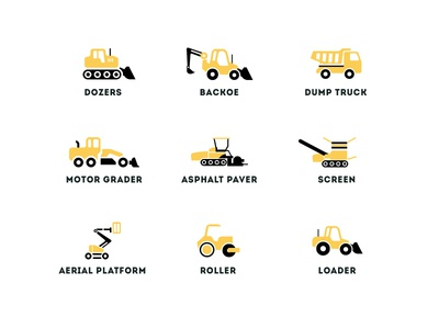 Compaction Equipment Icons trucks truck loader truck roller aerial platform asphalt raver motor grader grader dump truck backoe bulldozer dozer equipment glyphs equipment icons icons icon compaction equipment