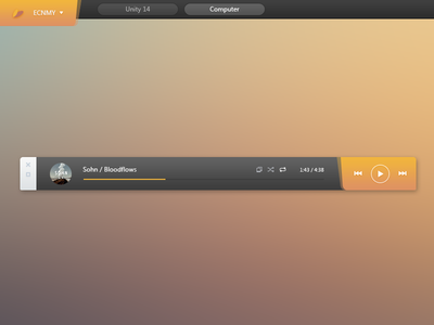 UNITY14 player ui design minimal deskmod custo taskbar button