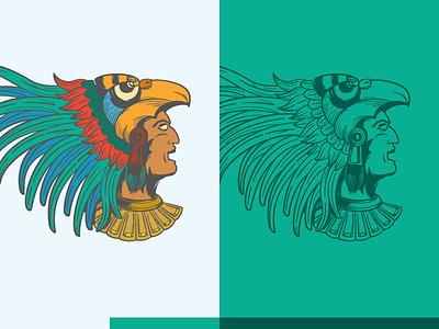 Aztec aztec warrior azteca mexico flat illustration lines color green