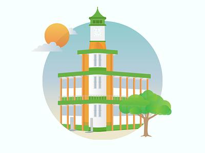 Biblio illustration library sun day sunny circle city ndc2014