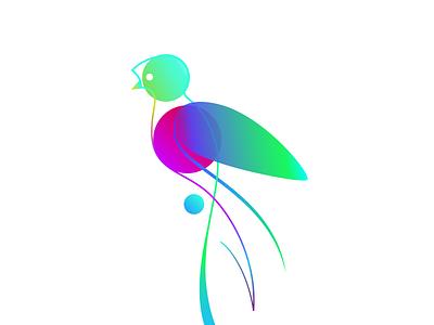 Quetzal illustration bird quetzal neon colors