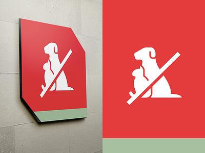 UNPA signage design allowed pets dog cat animals pictogram signal signage