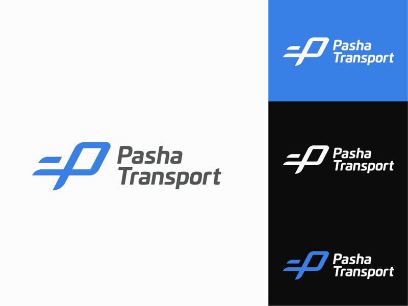 Pasha Transport Logo icon icon design truck branding and identity branding concept brand transportation design blue mark logomark logo design logotype delivery service transport