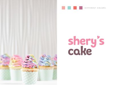 shery's cake identity colorful typography art graphicdesign graphic logo concept logo design icon design illustration cake mark logo