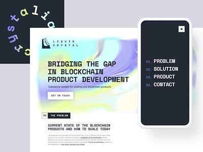 Liquid Crystal - Landing Page website web design landing page development crystal liquid branding blockchain