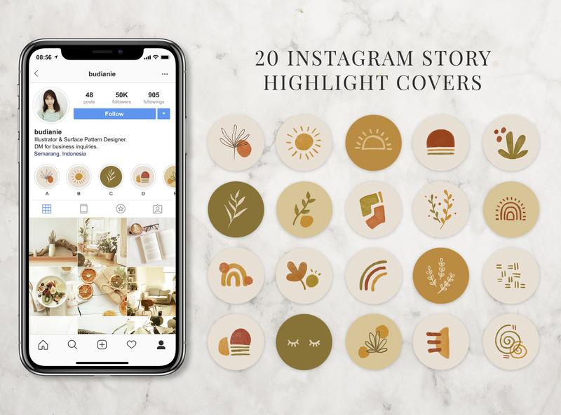 20 Instagram Highlight Covers instagram instagram template instagram stories illustration icon highlights etsy shop etsy design cover