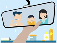 Family Brushing Teeth In The Rearview Mirror. Vector Illustratio