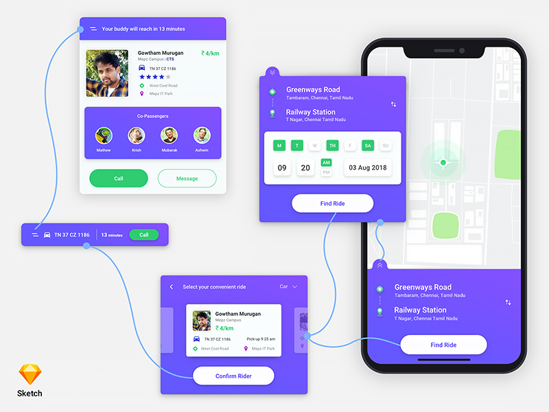 Ride Pooling App sketch latest app design latest ux ui car pooling app bike pooling app passenger pooling app dribbble app car