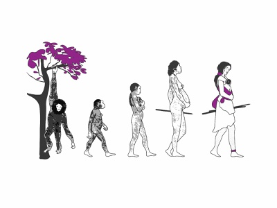 Women In Human Evolution visibility women in art women evolution evolve human evolution illustration visual communication