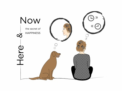 Here And Now | the secret of Happiness mindful present tense right here right now worries happiness life moment live now present here and now celestevisual illustration visual communication