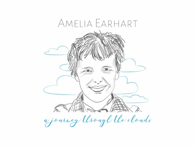 Amelia Earhart - A Journey Through The Clouds disappear feat aviation pioneer aviator pioneer aviation amelia earhart women illustration visual communication
