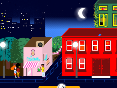 City at night krita graphic design illustration