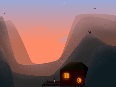 The Cévennes sunset landscape wacom krita illustration