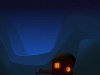 The Cévennes by night illustrator krita graphic design night landscape blue illustration