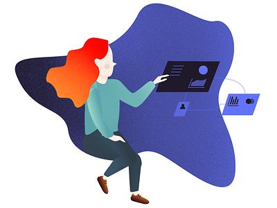 Hydres human ressources blue webapp clean office desk workspace graphic design illustration