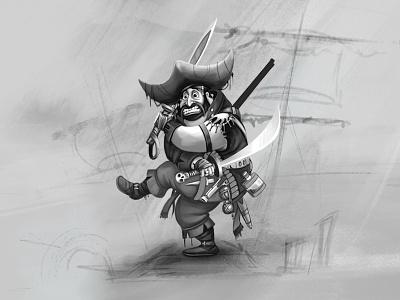 PirateX game art character design concept development concept art sketching
