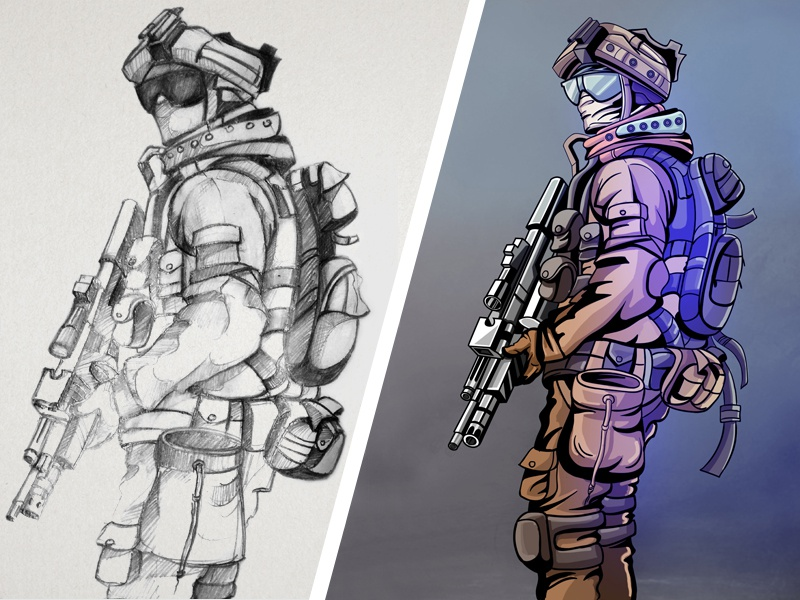 Soldier Digital Art sketches digital art graphics game design