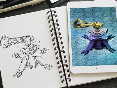 Futuristic Weapons Digital Art  sketches digital art graphics game design