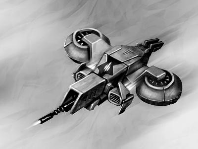 Alien Spaceship sketches digital art graphics game design