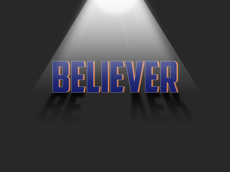 Believer..If you get this then hit like flat simple colors idea shadow light text texture thoughts lie believer