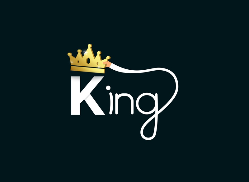 KING illustration vector new way text gradient flat design simple king